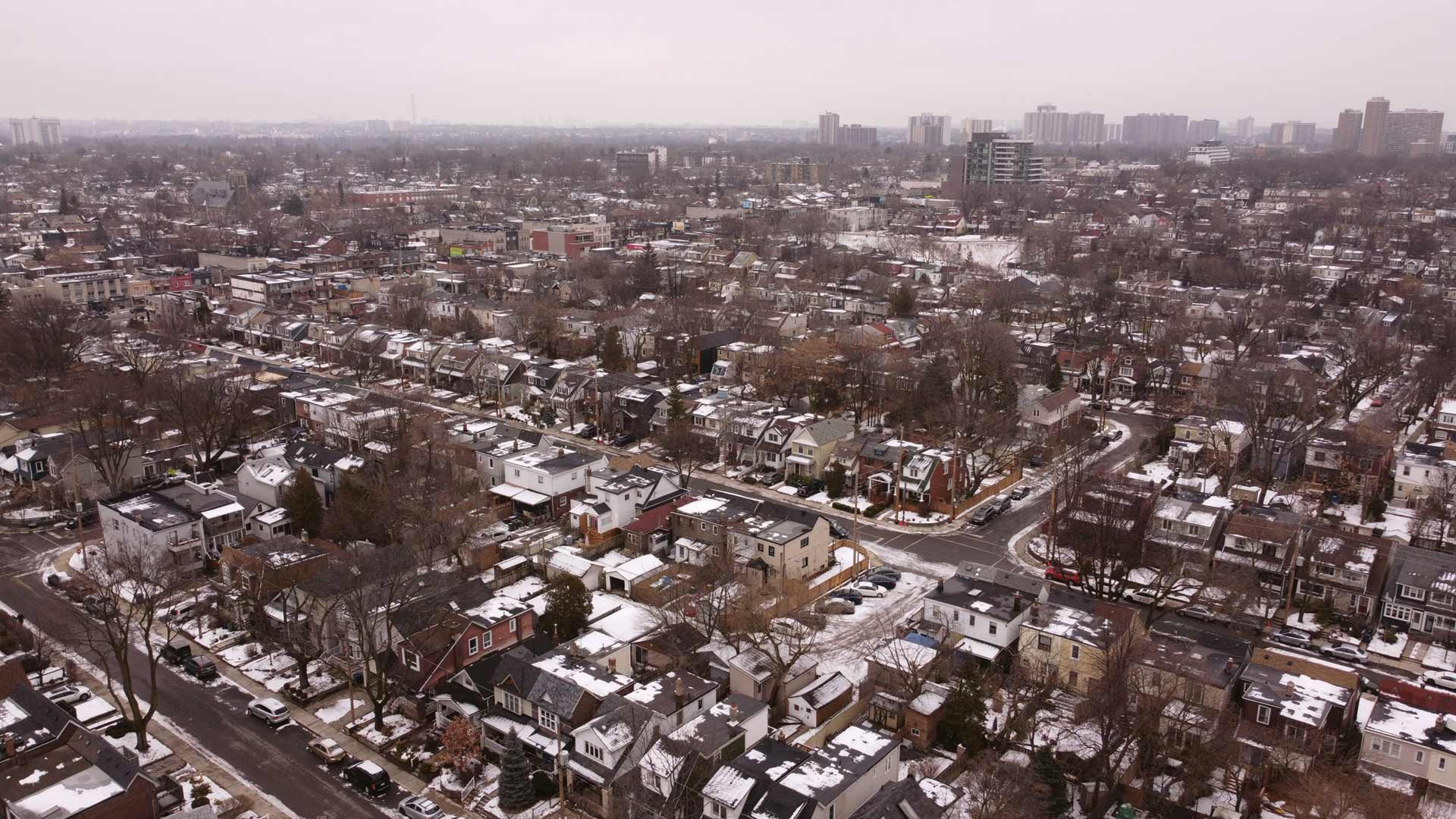 An aerial view of a Canadian suburb during winter.